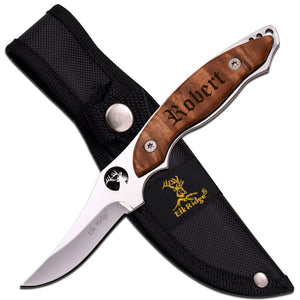 MIP Engraved Personalized Fixed Blade Burl Wood Handle Knife with Sheath Groomsmen