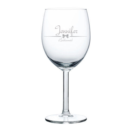 MIP Personalized Engraved Wine Glass Glasses White Red Wine Wedding Bridesmaid Gift