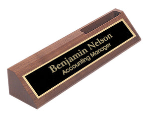 MIP Personalized Walnut NAME PLATE BAR w/ Business Card Holder office desk