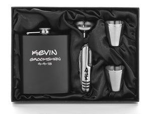 MIP Engraved 7oz Stainless Steel Flask Funnel Knife Shots MATTE BLACK PERSONALIZED