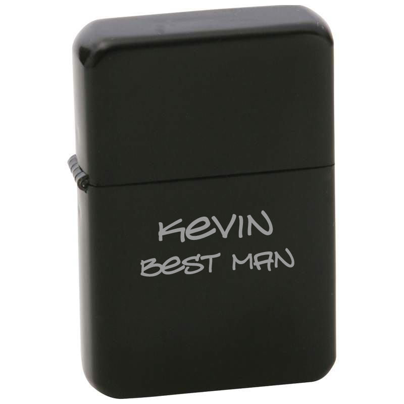 MIP ENGRAVED Star Matte Black Finish Lighter in Black Tin Case PERSONALIZED