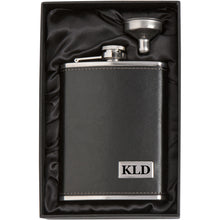 MIP Engraved 8oz Leather Wrapped Stainless Steel Hip Flask & Funnel PERSONALIZED