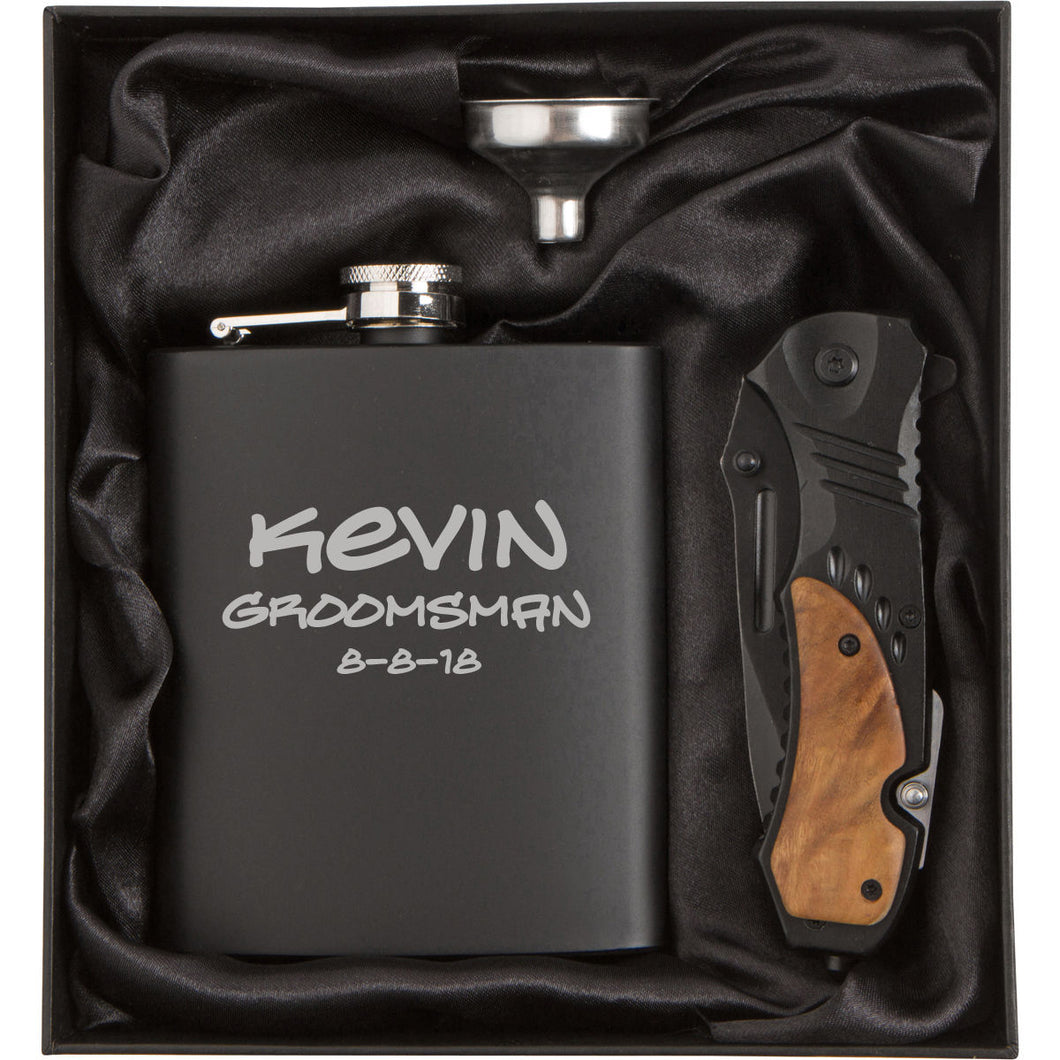 MIP Engraved Stainless Steel Flask Funnel & Rescue Knife MATTE BLACK PERSONALIZED