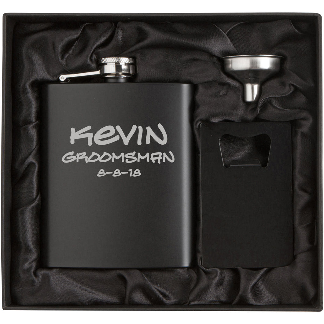 MIP Personalized Engraved Matte Black Flask, Funnel & Credit Card Bottle Opener