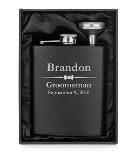 MIP Engraved 7oz Flask Matte Black Funnel Gift Box PERSONALIZED Wedding Bow Tie