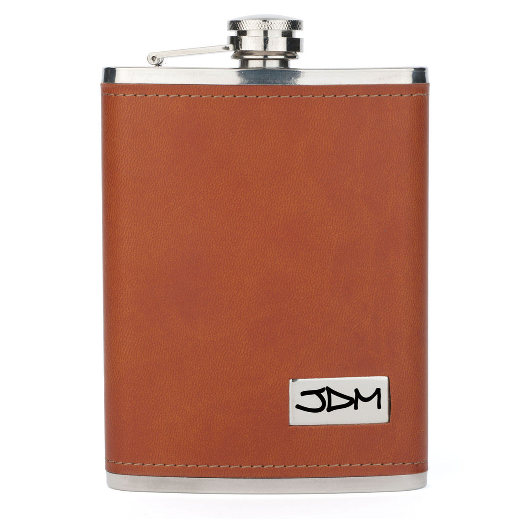 MIP Engraved 8oz Brown Leather Wrapped Stainless Steel HIP FLASK PERSONALIZED