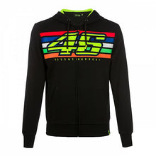 Load image into Gallery viewer, Hoodie fleece VR46 stripes black official collection