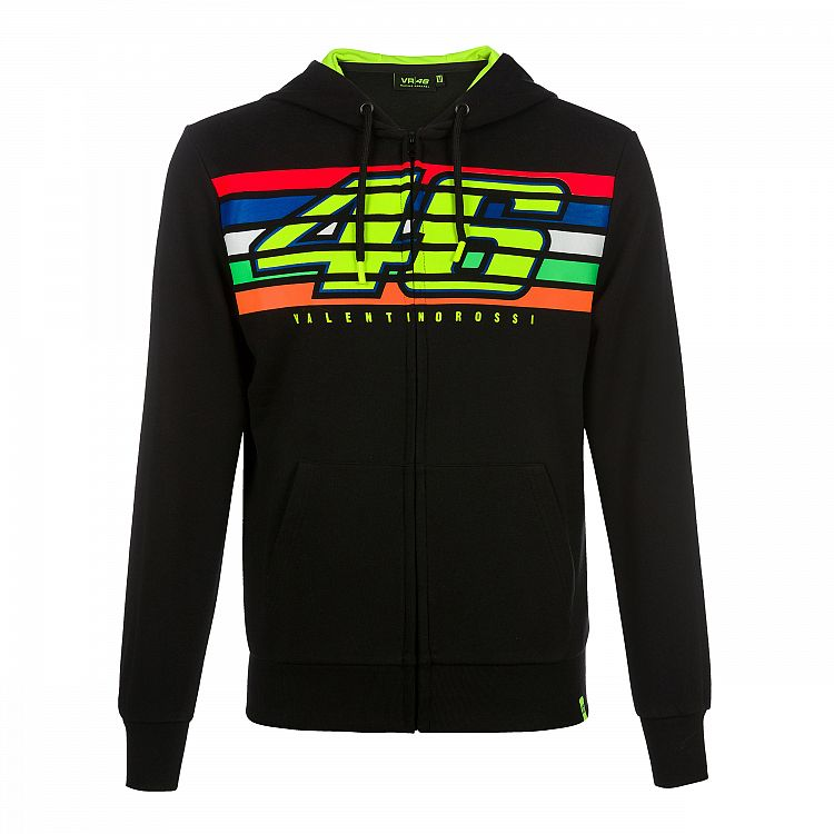 Hoodie fleece VR46 stripes black official collection