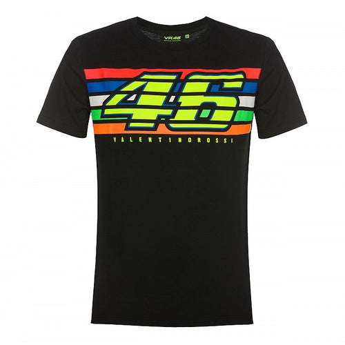 T-shirt VR46 stripes black official collection