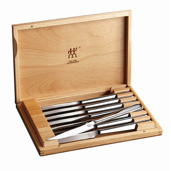 Used ZWILLING J.A. Henckels 8-pc Stainless Steel Steak Knife Set w/Presentation Case (Model 39130-850)