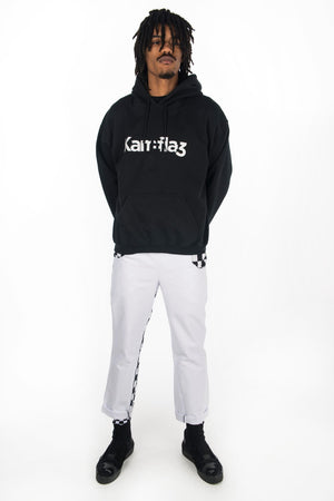 Kam0 Debut street wear branded black hoodie. Hand screen printed soft style British made high fashion that stands out.