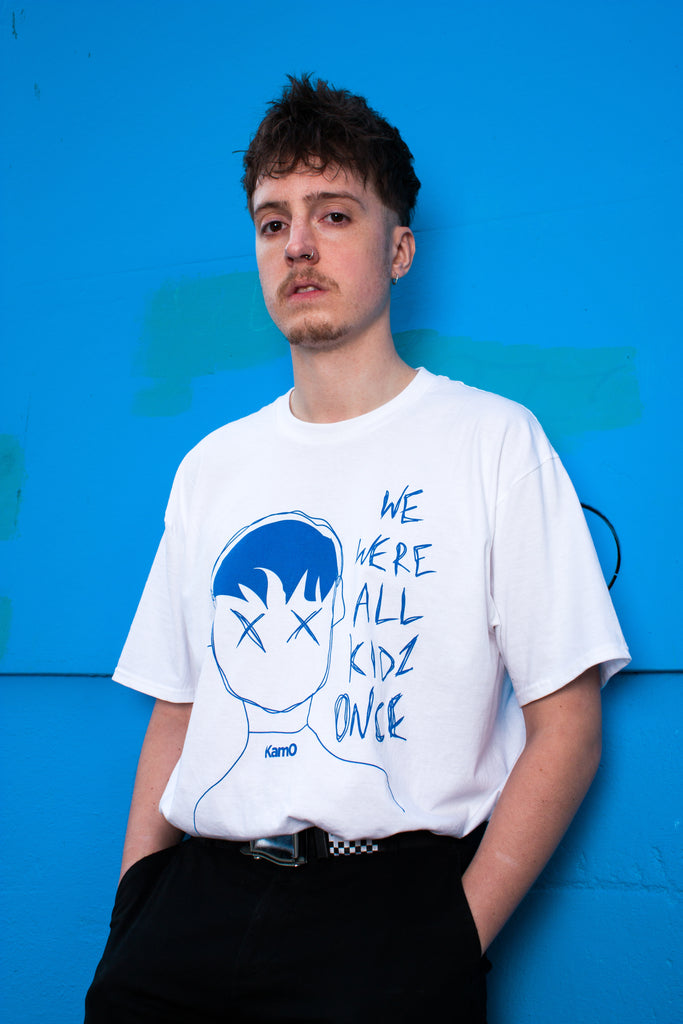Kam0 Nostalgia T shirt. Hand screen printed ring spun t shirt, British made high fashion that stands out.