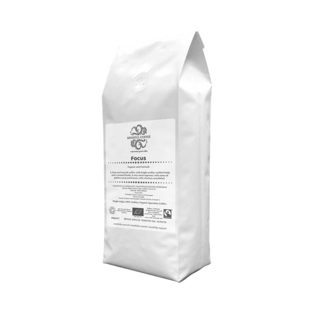 Mindful Coffee - Focus 500g| Organic Bulletproof Coffee Beans | Mycotoxin Free - Lab Tested | Freshly Roasted |Single Origin Speciality