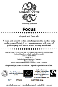 Mindful Coffee - Focus 250g| Organic Bulletproof Coffee Beans | Lab Tested | Freshly Roasted |Single Origin Speciality