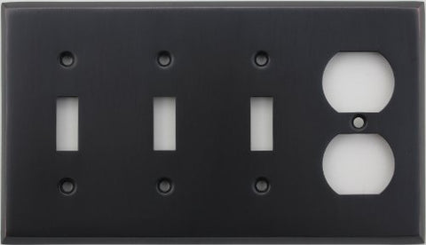 Classic Accents Stamped Steel Oil Rubbed Bronze Four Gang Wall Plate - Three Toggle Light Switch Openings One Duplex Outlet Opening