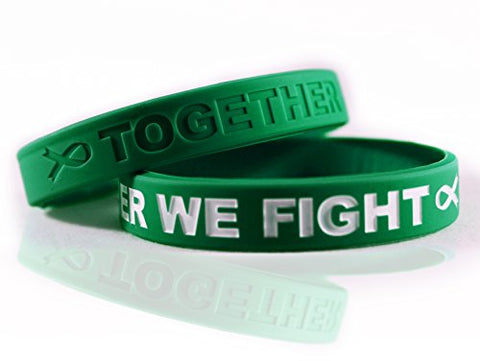 Cancer &Amp; Cause Awareness Bracelets With Saying Together We Fight, Gift For Patients, Survivors, Family And Friends, Set Of 2 Ribbon Silicone Rubber Wristbands For All (Liver Cancer Green)