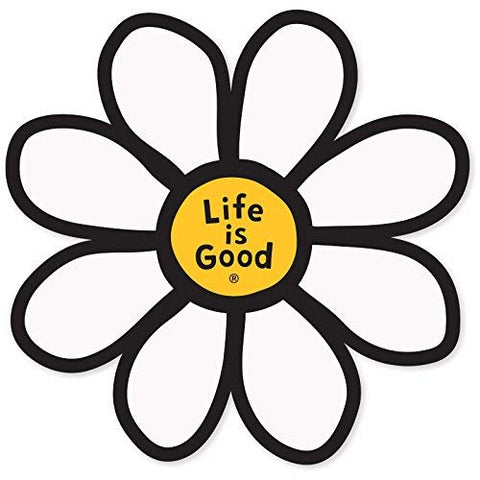 Life Is Good. Die Cut Sticker Daisy Lig - Cloud White