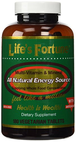 Life's Fortune MultiVitamin & Mineral All Natural Energy Source Supplying Whole Food Concentrates - 180 Tabs