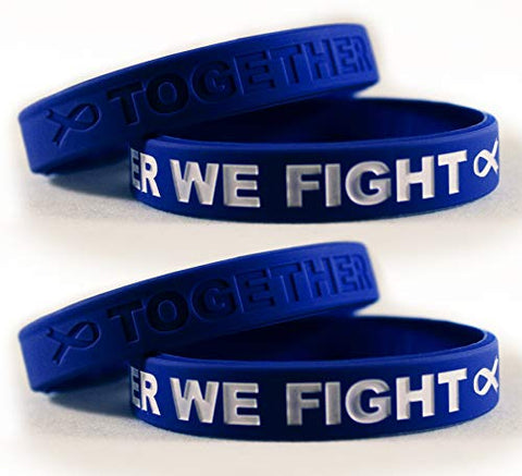 Cancer &Amp; Cause Awareness Bracelets With Saying Together We Fight, Gift For Patients, Survivors, Family And Friends, Set Of 2 Ribbon Silicone Rubber Wristbands For All (Colon Cancer Dark Blue 4 Pack)