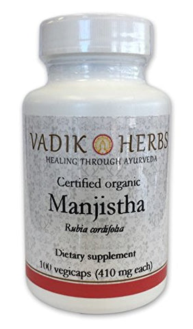 Pure Wild harvested Manjistha (Rubia cordifolia, Indian Madder) - 100 vegicaps - Made in USA - Safety tested - No GMO, vegan