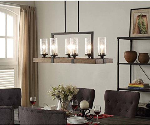 Vineyard Rustic Style 6-Light Glass Fixture Metal And Wood Ceiling Chandelier .#GH45843 3468-T34562FD589272