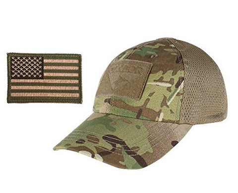 Condor Multicam Mesh Tactical Cap &Amp; Usa Flag Patch Stitching &Amp; Excellent Fit For Most Head Sizes