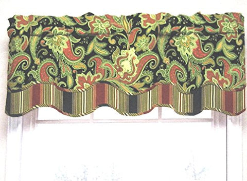 Waverly Traditions By Rustic Retreat Paisley Floral Valance 52  w X 16  L Crimson with Black,Cream, Yellow, Blue and Green