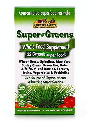 Country Farms Super Greens Vegicaps, Whole Food Supplement, 32 Organic Super Foods , 30 servings