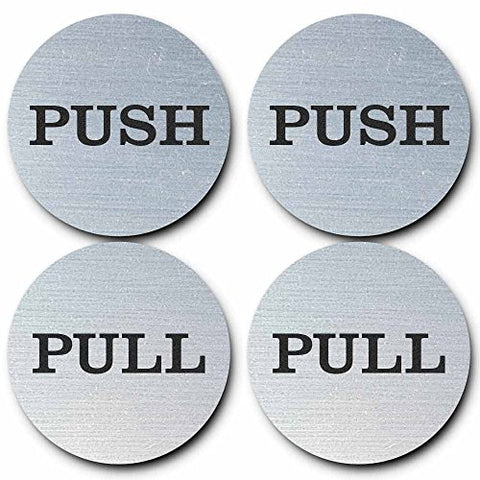 2  Round Push Pull Door Signs (Brushed Silver) - 2 sets (4pcs)