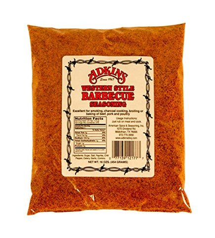 By The Case - Adkins Western Style Barbecue BBQ Seasoning 16 OZ All Natural