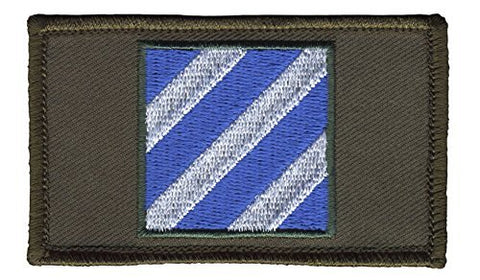 3Rd Infantry Division 2  X 3  Hook &Amp; Loop 2 Piece Od Green Patch
