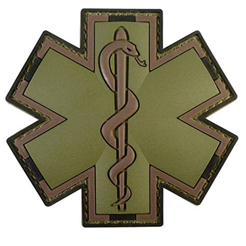 Legeeon Olive Drab Multicam Od Ems Emt Medic Paramedic Star Life Morale Pvc Touch Fastener Patch