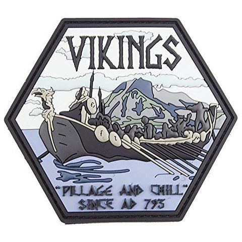 Vikings Pillage And Chill Pvc Tactical Patch Morale Badge With Velcro