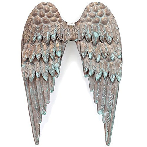 Copper Patina Metal Angel Wings 8 X10 -