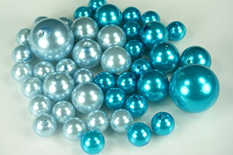Wholesale Elegant Vase Fillers - Approx 42 Assorted Pearls Beads - Unique Decorative Gems (LT. BLUE & TURQUOISE)