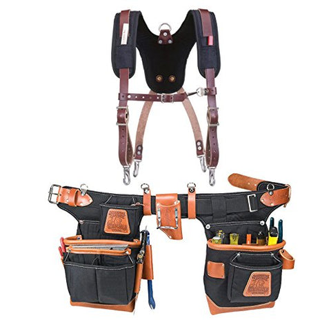 Occidental Leather 9850 Adjust-to-Fit Fat Lip Tool Belt Set Black Bundle w/ 5055 Stronghold Suspension System (2 Pieces)