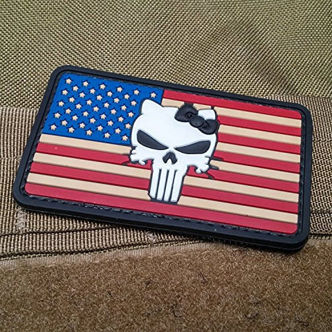 Neo Tactical Gear Punisher Kitty American Flag Morale Patch Pvc -