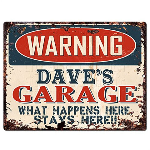 WARNING DAVE'S GARAGE Tin Chic Sign Vintage Retro Rustic 9 x 12  Metal Plate Store Home Man Cave Decor Funny Gift