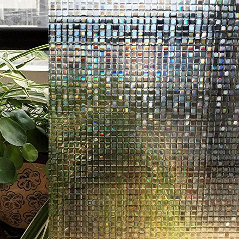 Zoostliss Mosaic 3D Window Films Privacy Film Static Decorative Film Non-Adhesive Heat Control Anti UV 17.7In x 78.7In.