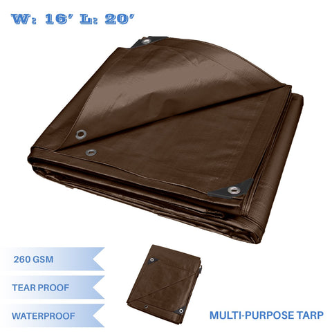 E&K Sunrise 16' X 20' Finished Size General Multi-Purpose Tarpaulin Ultra Heavy-Duty 8 Oz/16-Mil Poly Tarp - Brown