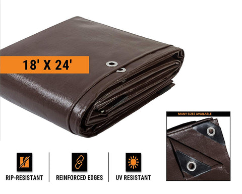 18' X 24' Super Heavy Duty 16 Mil Brown Poly Tarp Cover - Thick Waterproof, Uv Resistant, Rot, Rip And Tear Proof Tarpaulin With Grommets And Reinforced Edges - By Xpose Safety