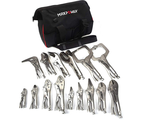 Maxpower 15 Piece Locking Pliers Set, Complete Locking Pliers Set For All Purposes In Wide Open Mouth Tool Bag