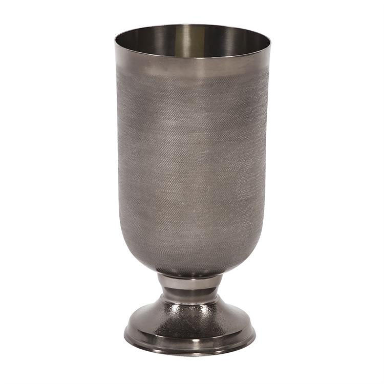 Textured Metal Vase Set (Black and Silver)