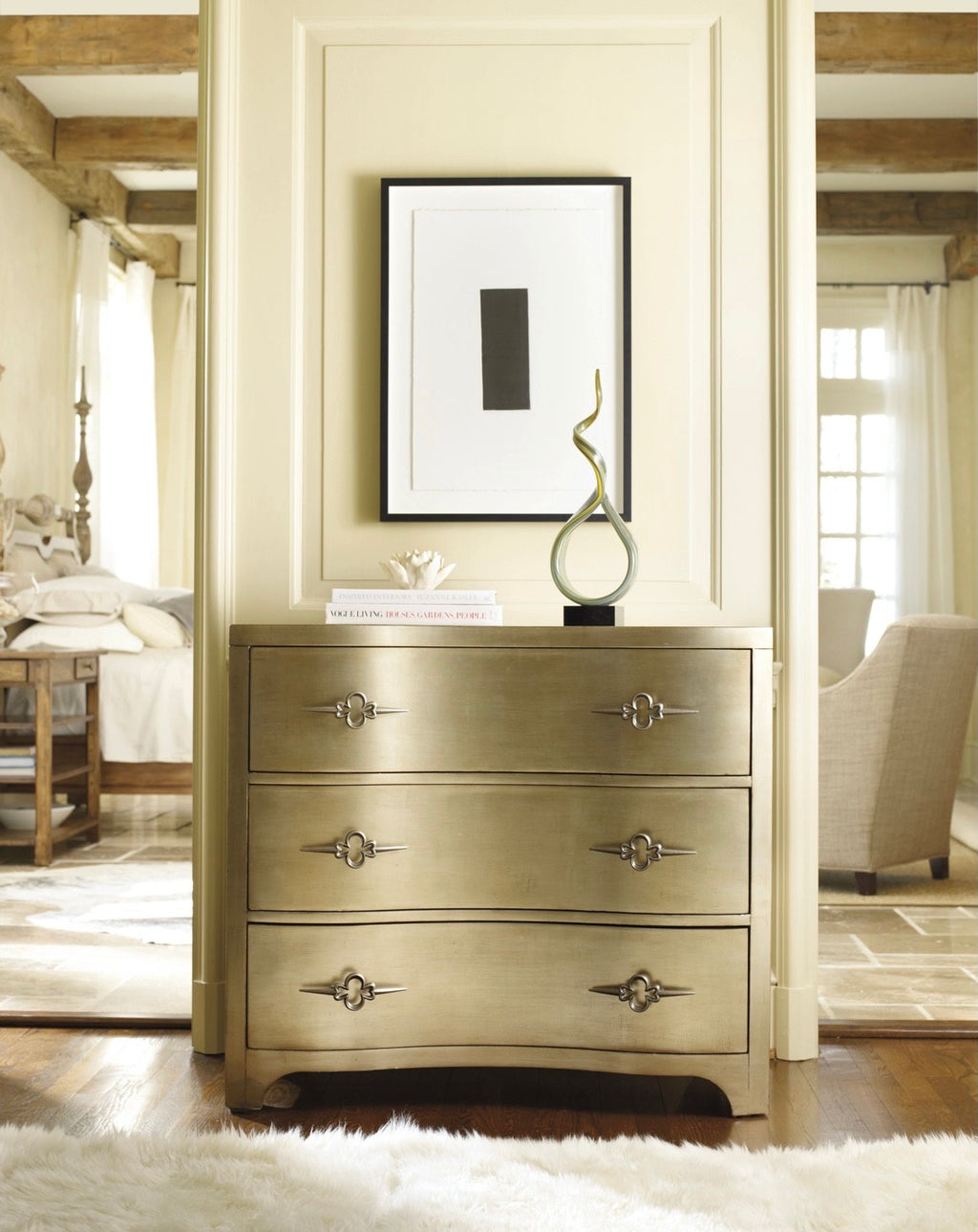 Celia Three-Drawer Shaped Front Gold Chest