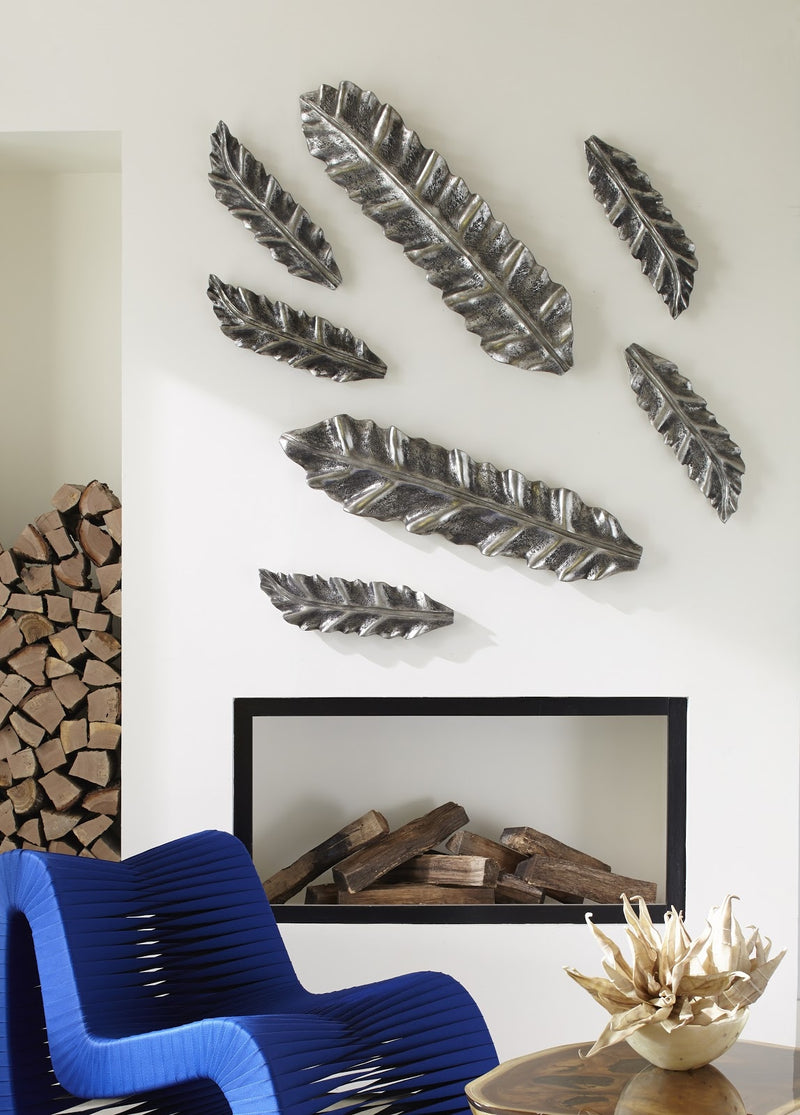 Silver Leaf Petiole Wall Sculpture I