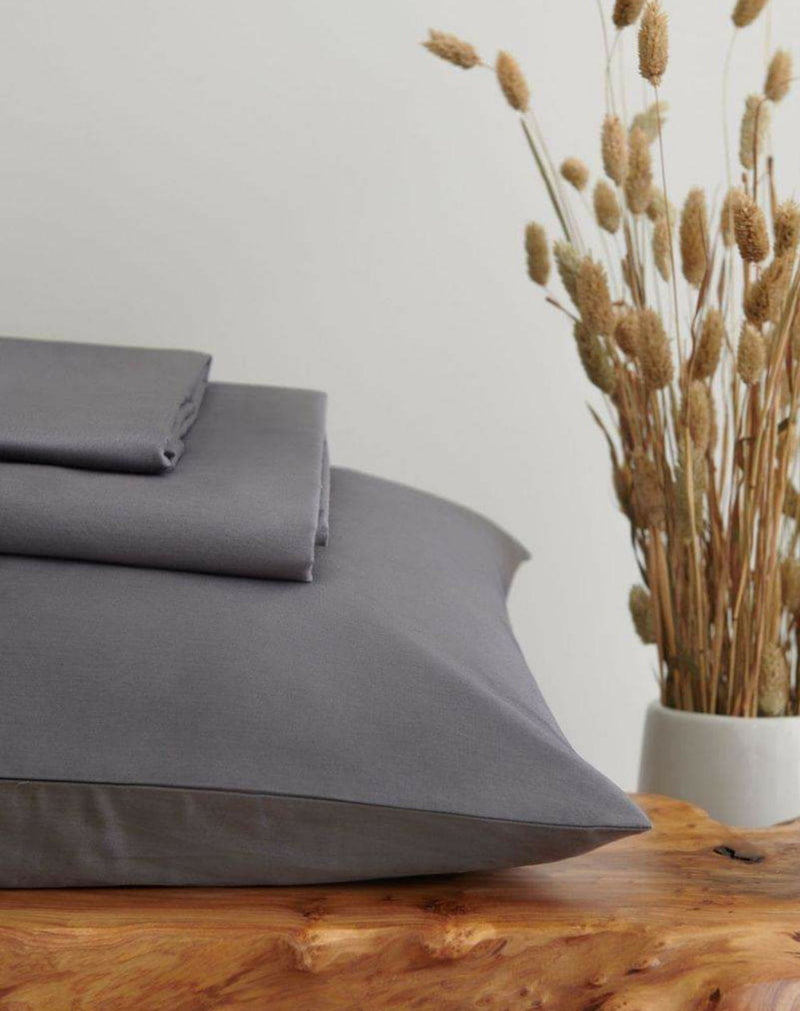 Luxury Organic Pillowcases, Set of 2 - Charcoal Grey