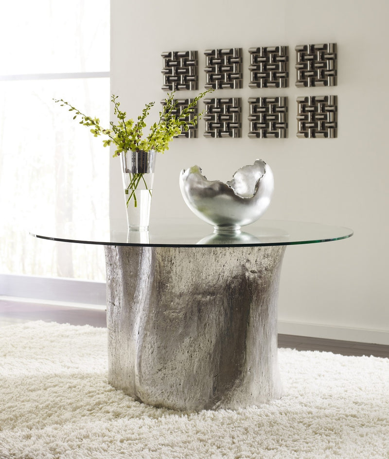 "Alba Log Dining Table with 60"" Glass Top (Silver Leaf)"
