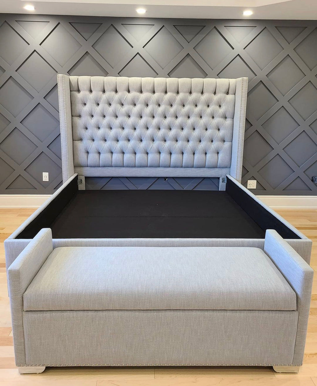Dior Custom Tall Wingback Bed & Matching Storage Bench (Optional)