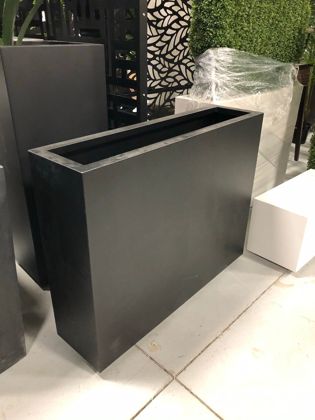Outdoor Grey Rectangular Planter