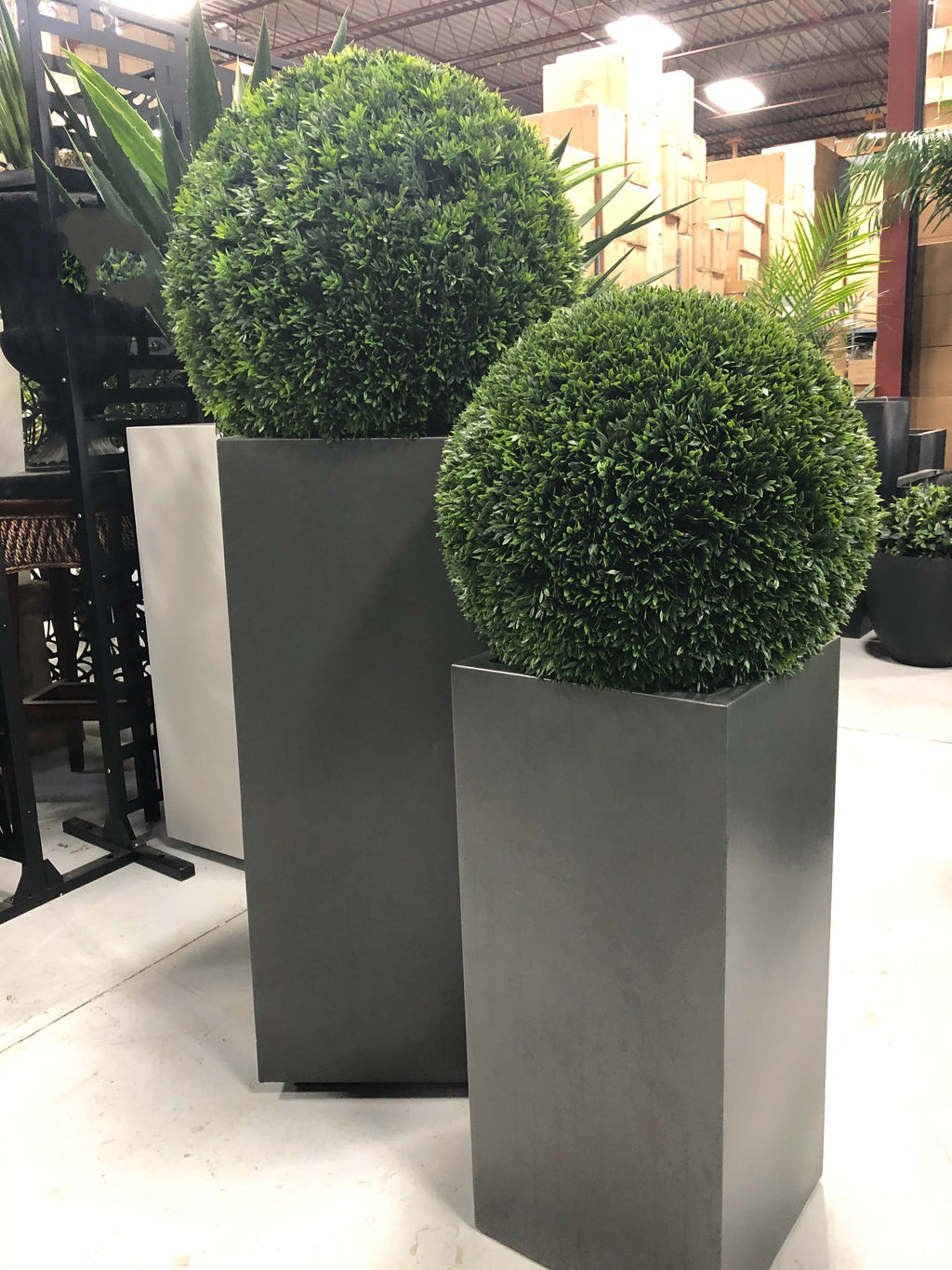 Outdoor Grey Pedestal Planter